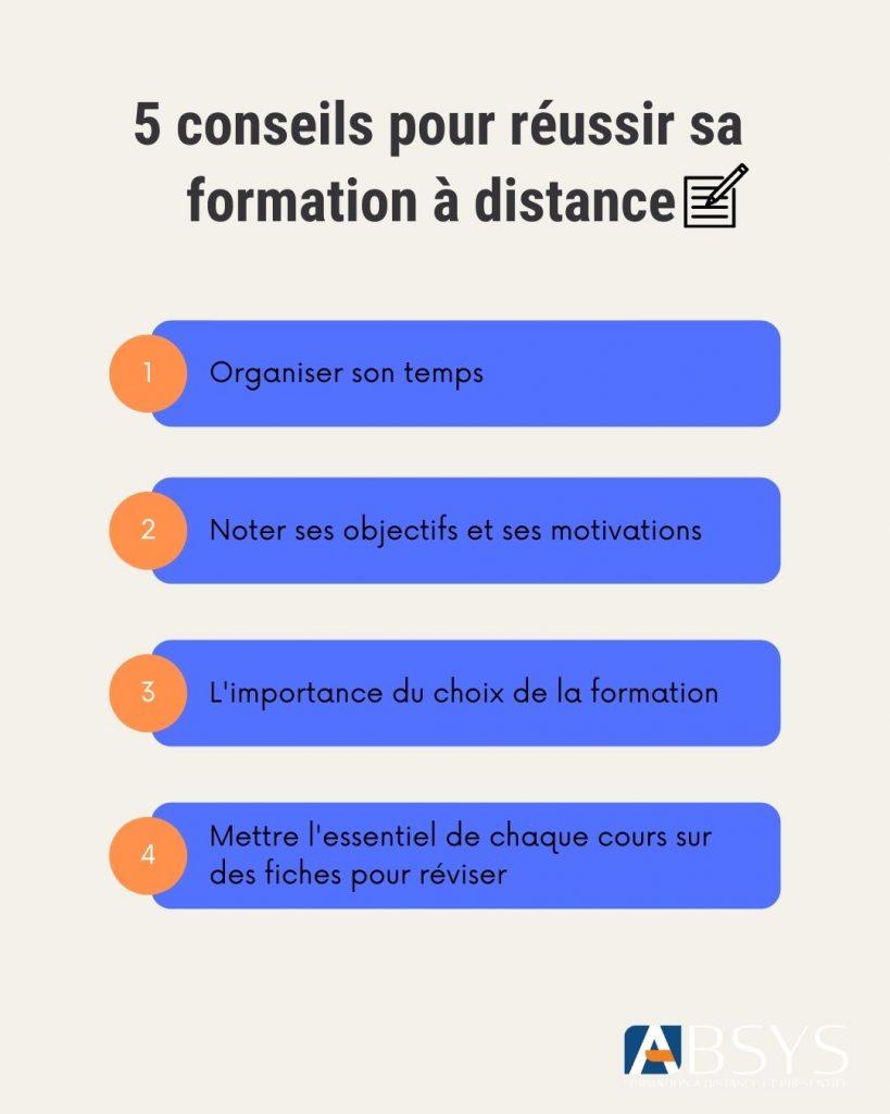 infographie astuces réussir sa formation à distance